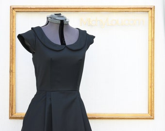 little black dress  with peter pan collar, vintage inspired, retro dress  - EMMA style