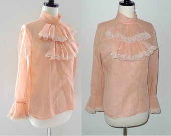60s Peach Mick Jagger Austin Powers Groovy Baby Frill Front Lace Sleeve Shirt Top Punk Grunge Rock New Romantic Victorian Boho Prince sale