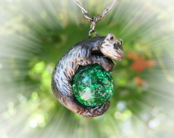 Ferret Necklace Pendant  Polymer Clay