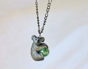 Koala Necklace Pendant with Marble Handmade