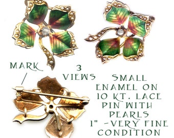 Brooch ~ Small Early 20th C. Enamel on Gold Lucky 4-Leaf Clover & Pearl