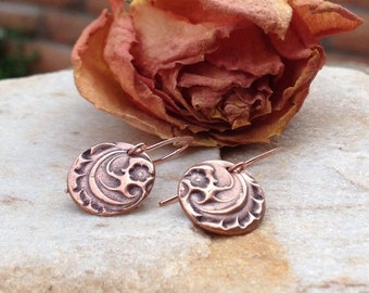 Hand Stamped Copper-Nature Leaf Jewelry-Copper Metal Clay-Dangle Drop Earrings-Anniversary Gifts