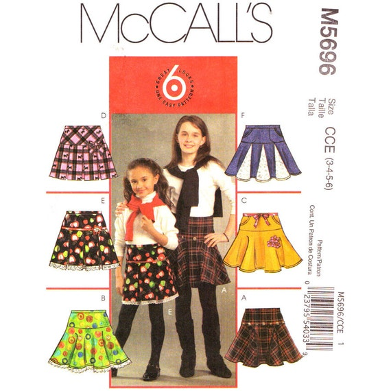McCalls 5696 Girls Skirt Sewing Pattern Pleated Flared or Circle Skirt Girls Size 3 4 5 6
