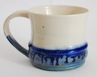 16 oz Mug Blue and White Rain Porcelain Ceramic Mug Large