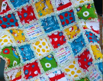 Dr. Seuss Rag Quilt ~ Bright and Fluffy for Cuddles Galore!