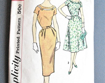 1950s Simplicity 2500 Slenderette Misses' and Women's One-Piece Dress   Two Skirts Fitted Bodice Slim Skirt Vintage Sewing Pattern  Bust 34
