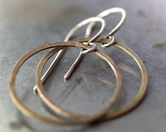 Classic, simple lightweight small thin hammered yellow brass hoop earrings