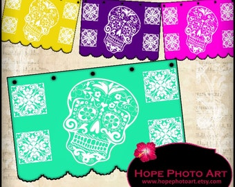Papel Picado Halloween Day of the Dead Skull Digital Collage Sheet - party garland pennants flags banners printable  - Uprint 300jpg