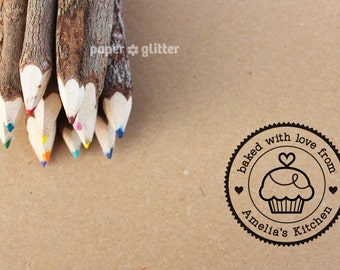 Personalized Rubber Stamp Cupcake Round Circle Make Your Own Cute Text (Wood Engraved or Self Inked) 0096