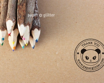 Personalized Rubber Stamp Thank You Kawaii Panda Seal Round Circle Make Your Own Cute Text (Wood Engraved or Self Inked) 0146