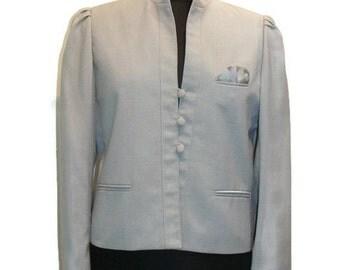 Vintage Light Gray Cropped Jacket Vintage Jackets Women Light Grey Jacket Womens Grey Jacket For Women Women's Vintage Jackets Grey Blazers