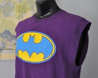 Vintage Batman Tee Sleeveless Modified Purple Yellow Blue Distressed 90s Tshirt DC Comics XL
