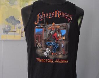 Blank Front Vintage Tanktop Johnny Ringos Tombstone Arizona Tank Top Western Vacation Black Tee 90s LARGE