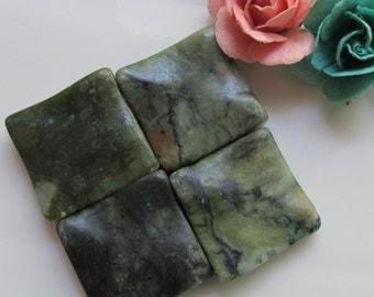 "Natural Green Saguaro ""Jasper"" Wavy Diamond Pendant Beads 34mm from Hole to Hole 2 pcs"