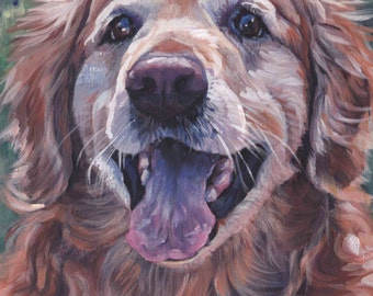 "Golden Retriever portrait CANVAS PRINT of LAShepard painting 8x8"" dog art"