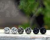 8mm Black, Gunmetal Gray, Bright Silver Glitter Studs, Faux Druzy Earrings, 3 Pair Set, Titanium or Stainless Steel Posts