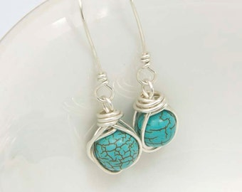 Turquoise Howlite Gemstone Earrings, Wire Wrapped with Sterling Silver