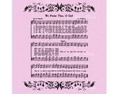WE PRAISE Thee, O God Bargain Sale Hymn Art Christian Home Decor VintageVerses Sheet Music Rose Purple PIF Pay It Forward Destash Hallelujah