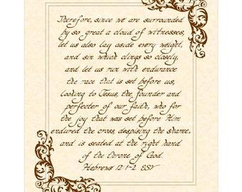Hebrews 12:1-2 ESV Custom Christian Home Decor VintageVerses Hand Written Calligraphy Scripture Wall Art Natural Parchment Sepia Brown Ink