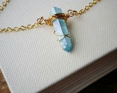 Aqua Blue Aura Quartz Pendant . Wire Wrapped Blue Aura Quartz Crystal Gold Layering Necklace
