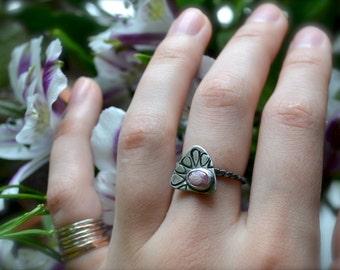 Rhodochrosite Petal Silver Stacker Ring