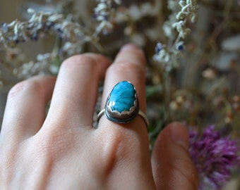 MAY SALE - Blue Turquoise Silver Stacker Ring