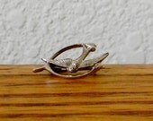 Tiny Vintage Sterling Silver Wishbone and Sparrow Brooch