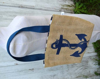 Eco Friendly Nautical Anchor Folded Burlap Tote Bag - Handmade from Recycled Coffee Sacks