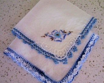 Cotton Hankies, hand crochet and Tatted edges, Set of wo, Blue and White