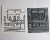 "Linocut Print of Hackney Town Hall 8 x 10"" (20.3 x 25.4cm)"