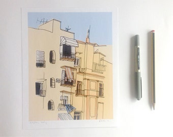 "Naples Hand Drawn Illustration Coloured Digitally 8x10"" Print"