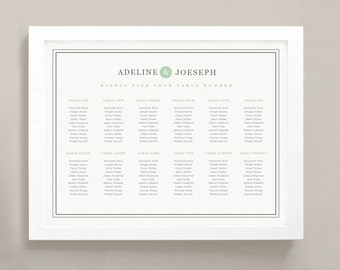 INSTANT DOWNLOAD | Printable Seating Chart Poster Template | Mint Type | Word or Pages | 18x24 | Editable Artwork Colors