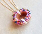Polymer Clay Pink Strawberry Doughnut Half Best Friend Bff FRiendship Necklaces