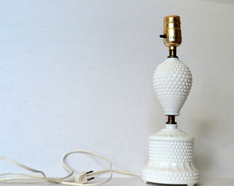 Hobnail milk glass bedside table lamp- small