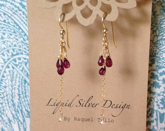 Triple GARNET Briolette 14K Gold Filled Danlge Earrings Freshwater Pearl. Made in Hawaii. Perfect Birthday BFF Wedding Mother in law GIFT