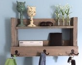 Rustic entryway shelf, key holder, mail organizer, weathered gray shelf with hooks, kitchen shelf, farmhouse shelf, bathroom storage