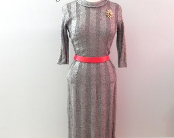 Vintage 50s wiggle Dress - 1950s Cool Grey Stripe Ribbon Pinup Dress M L - on sale