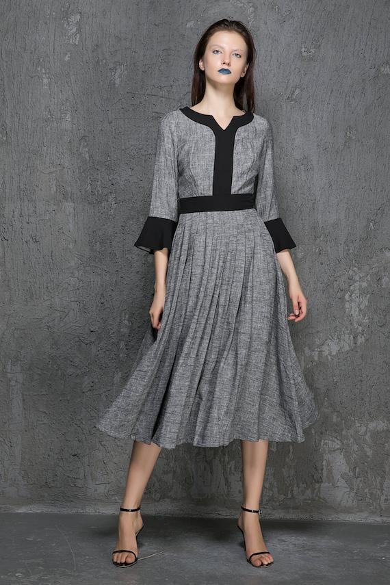 Grey linen dress - maxi skirt with contract patch work detail - three quarter sleeve dress -  ethnic midi dress - 2016 spring dress (1322)