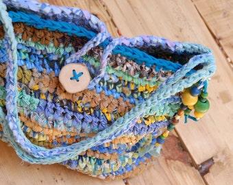 Happy rag bag, Fabric scraps bag, Beach boho crochet bag