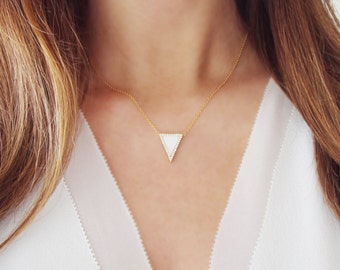 Pave Triangle Necklace with Mother of Pearl |  Delicate Minimalist Jewelry