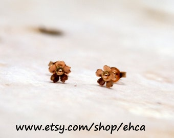 Handmade Mini 14k Rose Gold Cherry Blossom Post Earrings
