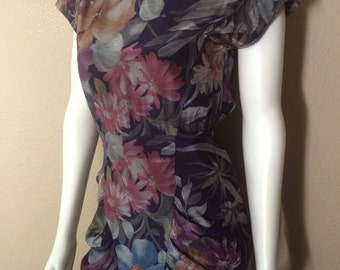 Vintage Women's 80's Floral Dress, Navy Blue, Sleeveless by All That Jazz (S)