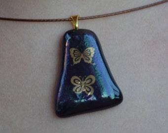 Fused Glass Necklace with 22 Karat Gold Butterflies, SRAJD, Purple iridized Glass, Necklace, Jewelry, Butterfly, Butterflies,