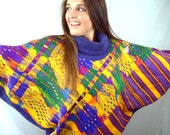 Vintage Oversized Woven Guatemalan Ethnic Embroidered Rainbow Huipil Tunic Top Batwing Sweater - By Dona Cristina
