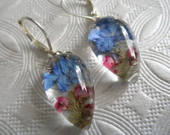 Royal Blue Lithodora & Pink Heather Real Pressed Flower Glass Teardrop Leverback Earrings-Symbolizes Loyalty-Gifts Under 30-Nature's Art