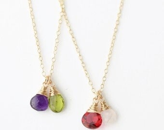 Mothers Birthstone Necklace / Mothers Jewelry / Custom Mothers Necklace / Two Birthstone Necklace / Family Necklace