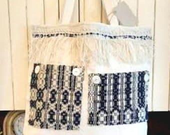 Tote Bag Antique Navy Coverlet Pockets and Fringe RDT OFG FSET