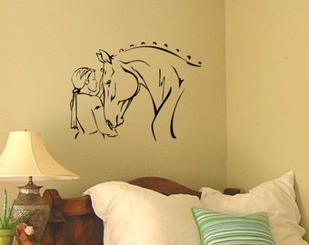 Horse Decal Horse Rider Wall Sticker Girls Bedroom Wall Mural College Dorm Decor Teen Girl Western Decor Baby Nursery Decal 21 X 28 inches