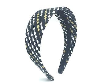 Wide Headband - Black, White and Gold Geometric Print Headband - Big GIrl Headband, Adult Headband Woman - Womens Headband - 2 inch Headband