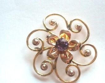 Signed Van Dell GF Amethyst  Stone Flower Brooch